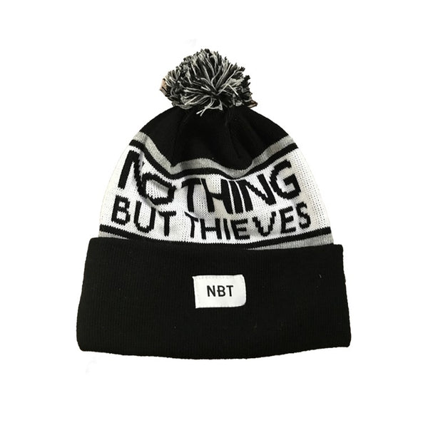 BLACK LOGO BOBBLE HAT