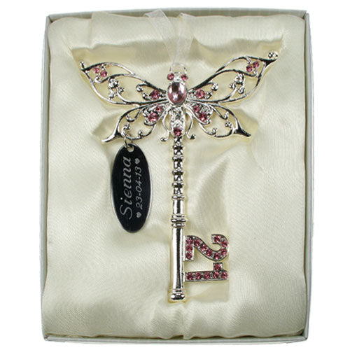 21st Birthday Butterfly Key - Pink