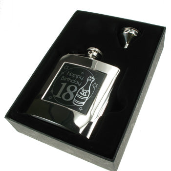 Presentation Boxed 18th Birthday Hip Flask