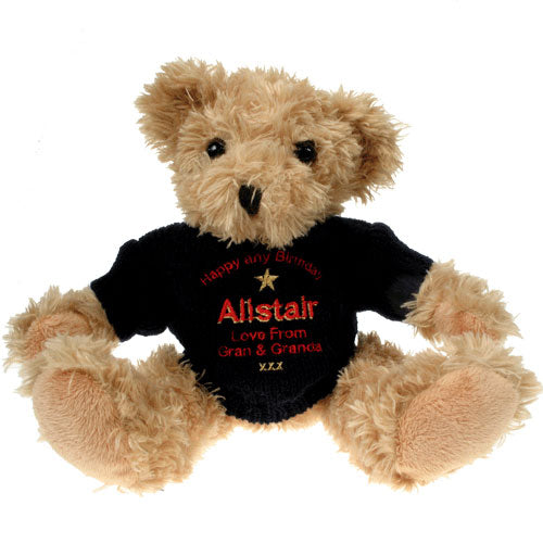 Personalised 30th Birthday Light Brown Bear: Blue Jumper