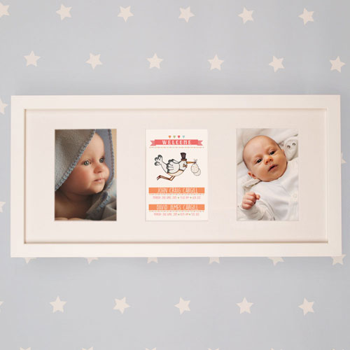 Twin Baby Illustrated Wall Frame