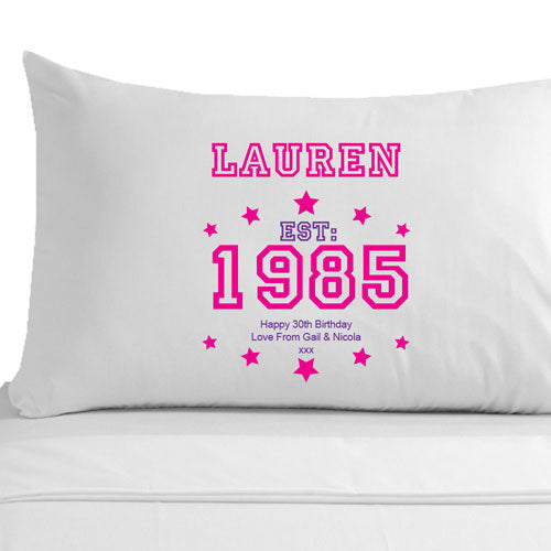 Personalised 30th Birthday Established (Year) Pillowcase for Her
