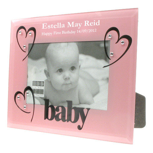 Pink Glass 1st Birthday Photo Frame