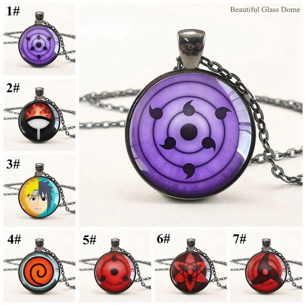 rinnegan eyes naruto pendant glass dome necklace anime cosplay lover