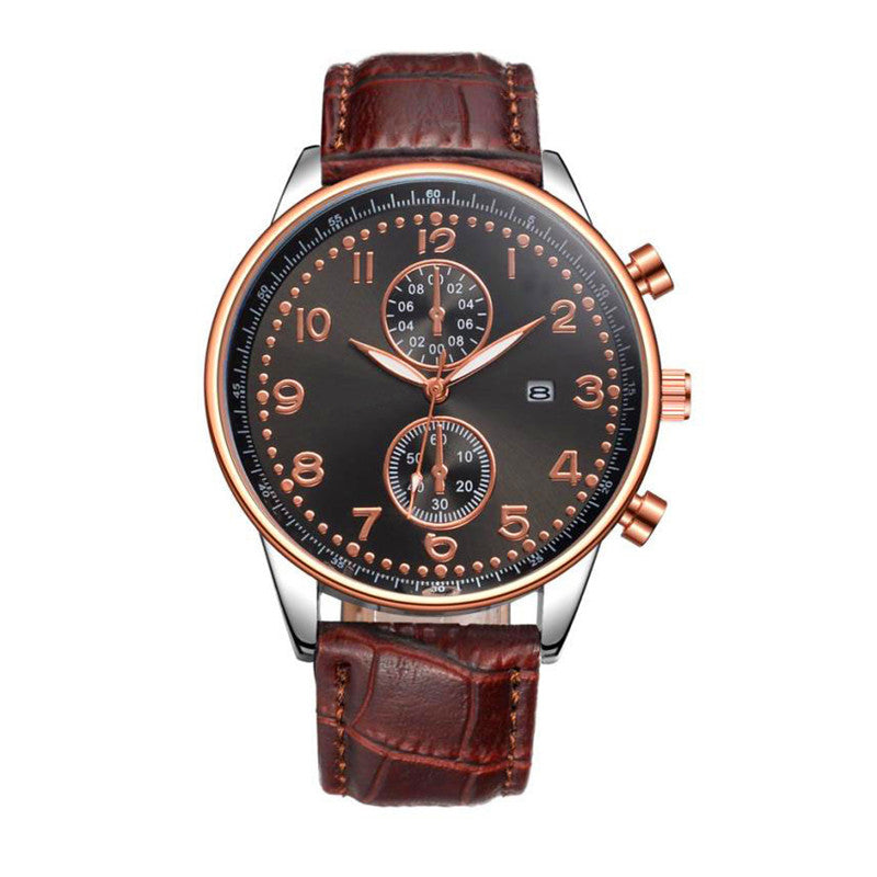 the-modern-wrist Men Luxury Stainless Steel Quartz Military Sport Leather Wrist Watch 1