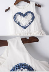 White & Blue Heart Girls Dress Summer Fashion