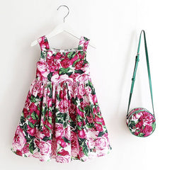 Girls Dress with Bag  Floral Design