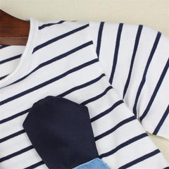 Denim Striped Girl Dress Long Sleeve Cute Mouse