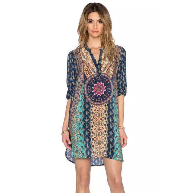 Blue Bohemian Ethnic Style Summer Dress