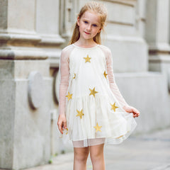 Girl Dress Star Embroidery Lace Mesh