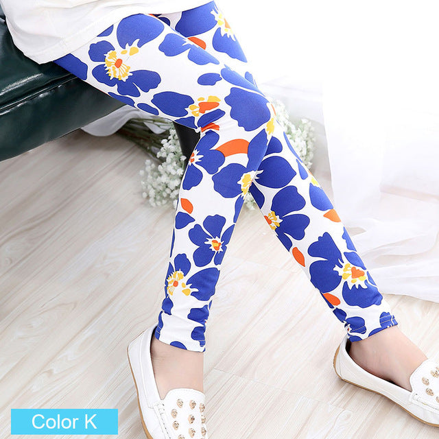 Cool Kids Leggings For Girls | White Blue Floral