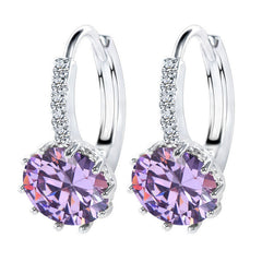 Luxury Ear Stud Earrings Round With Cubic Zircon Charm