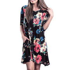 Casual Floral Print Mini Dress