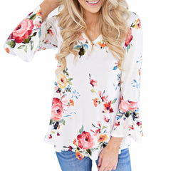 Women Casual Floral Print Long Flare Sleeve Top (T-Shirt Blouse)