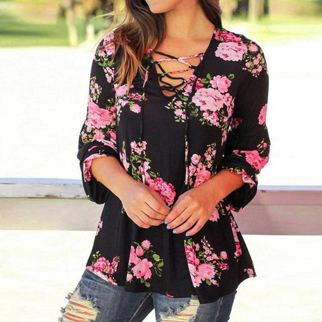 Women Long Sleeve Floral Printed Casual Blouse