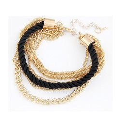 Layered Gold Chain Braided Rope Bangle