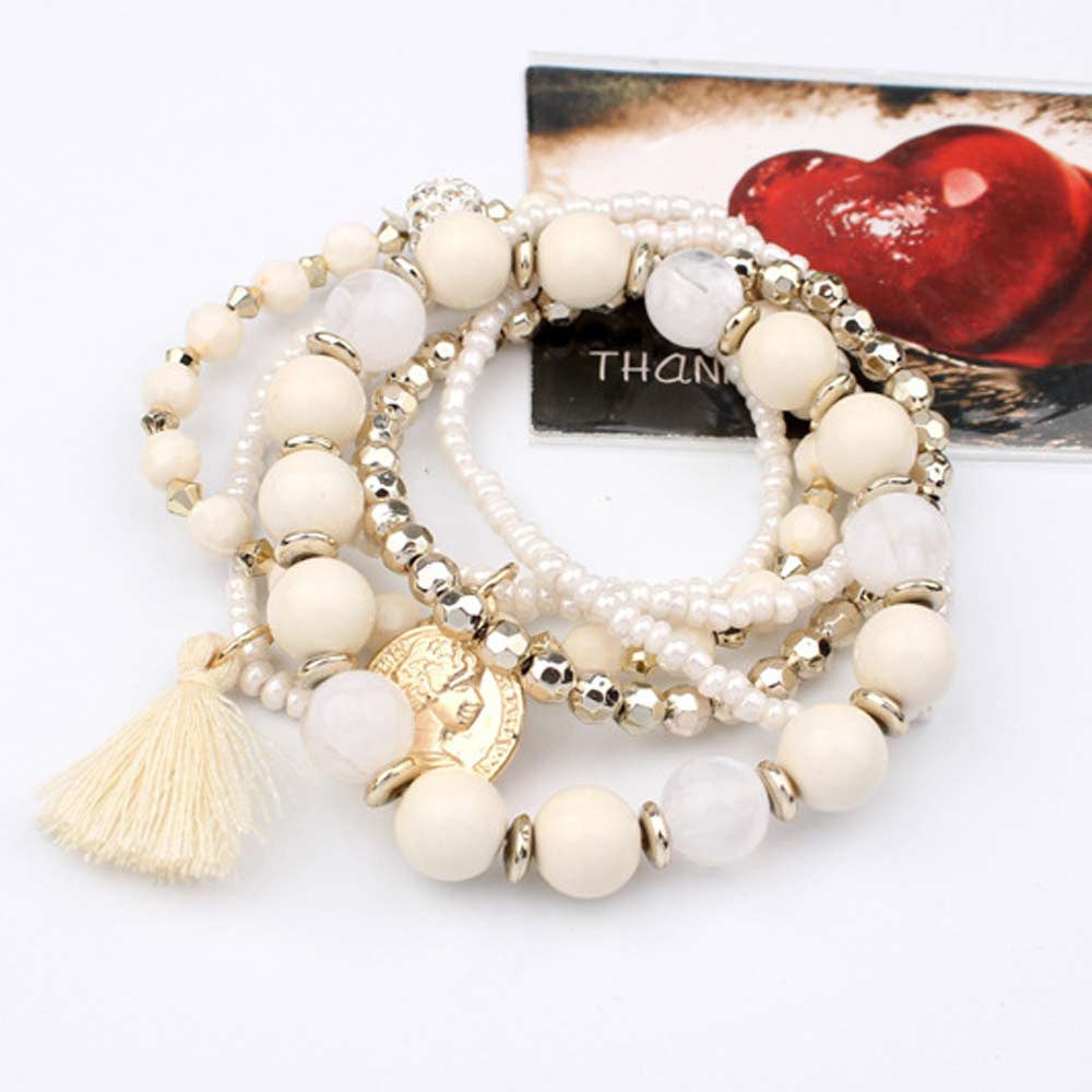Multi-layer Beads And Tassel Bangle