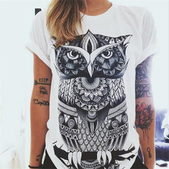 Casual Blouse Shirts O-neck Tops Tee Owl