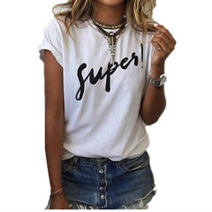 Casual Blouse Shirts O-neck Tops Tee Super