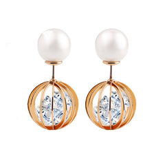 Pearl Rhinestone Round Ball Earrings