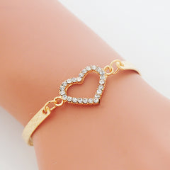 Crystal Heart Charm Bracelets for Women Bangle Jewelry Gold Color