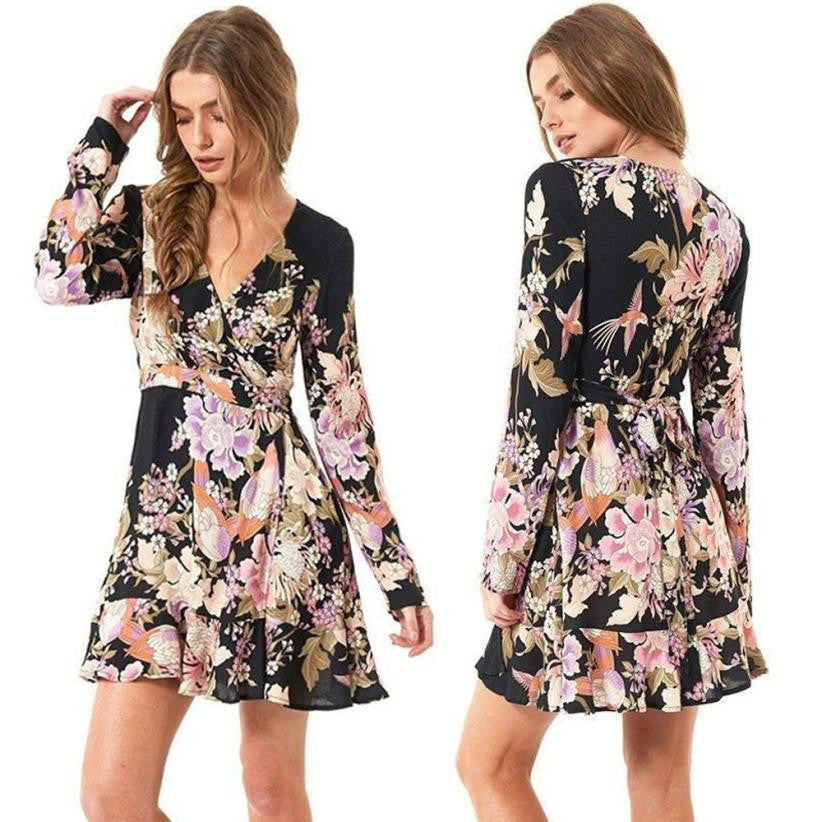 Floral Printed Autumn Dress