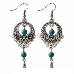 Oval Silver Turquoise Pendant Earrings