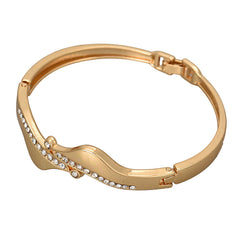 Asymmetrical Crystal Gold Bracelet