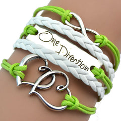 Vintage Double Heart One Direction Leather Bracelet