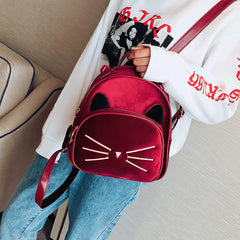 Burgundy Velvet Backpack Cute Cat Vintage Design