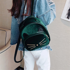 Green Velvet Backpack Cute Cat Vintage Design