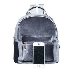 Gray Velvet Backpack | Casual Style Travel Backpack