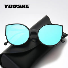 Fashion Cat Eye Reflective Mirror Sunglasses