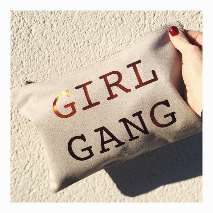 LIMITED EDITION GIRL GANG GREY POUCH BAG
