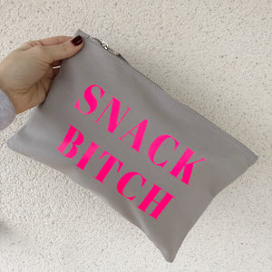 LIMITED EDITION SNACK BITCH GREY POUCH BAG
