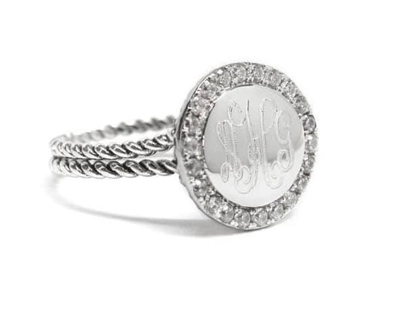 Sterling Silver Round Ring with Rope Band