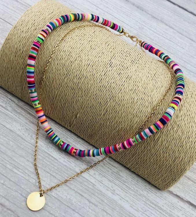 Engraved Colorful Beaded Necklace