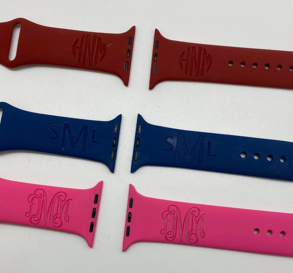 Apple Silicone Watch Bands (Engraved)