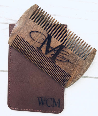 Engraved Beard Comb with Leather Sheath