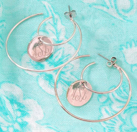 Engraved Double Hoop Earrings