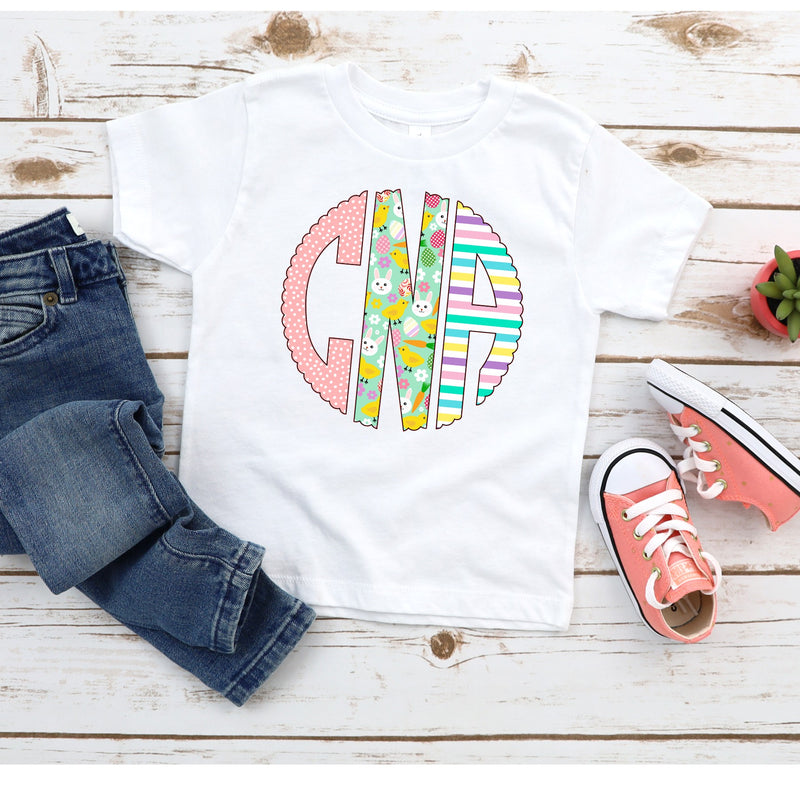Girls Easter Monogram Tee