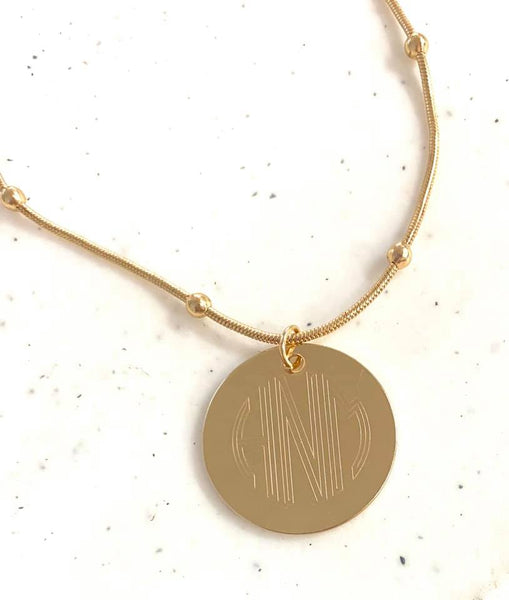 Gold Beaded Monogrammed Pendant Necklace