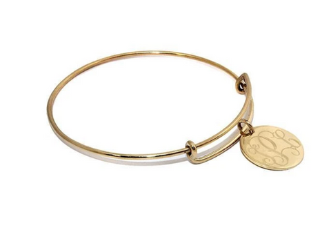 Monogrammed Gold Adjustable German Silver Bracelet