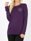Ladies Fit Long Sleeve Monogrammed Tee