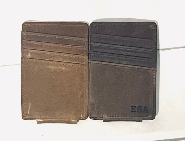 Genuine Leather Engraved Wallet Clip