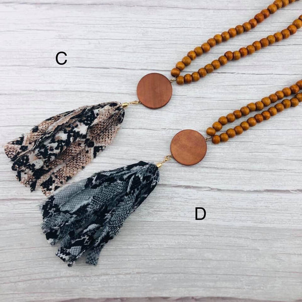 Wood Bead Tassel Necklaces