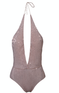 Mid-Paillettes Deep V Maillot