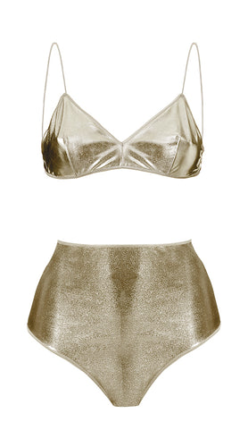 The High-Waisted Metallic Two-Piece - Bralette