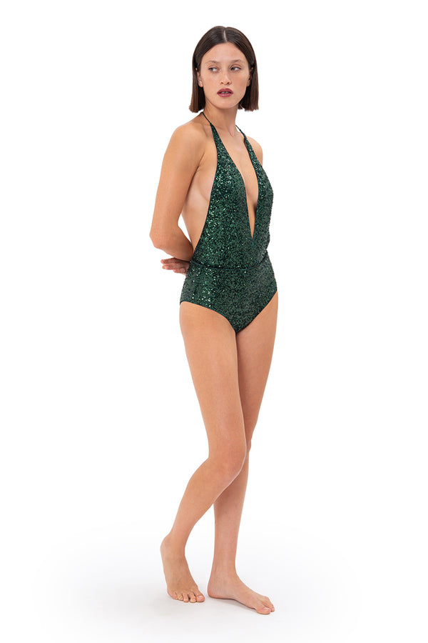 Resort 21 Mid-Paillettes Deep-V Maillot
