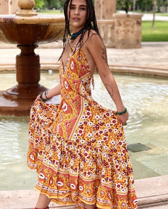 Boho ruffles dress print flowers